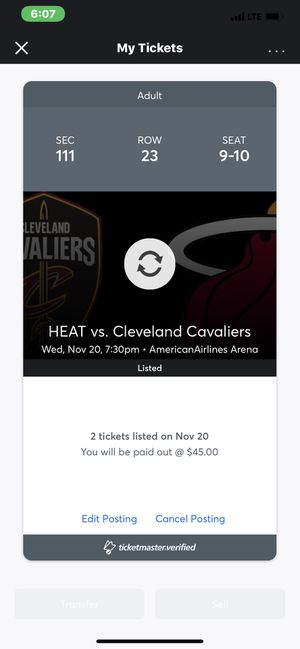2 Heat Tickets for today cleavland Cavaliers for Sale in Pembroke Park, FL