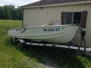 14 ft Sea Nymph v haul Jon Boat with trailer fish finder and 40 lb thrust minn Kota electric motor for Sale in Pittsburgh, PA