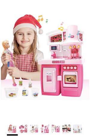 Kitchen Set for Girls Doll House Kitchen Toy Asseccories and Furniture Set with Chef Doll Pull-Out Refrigerator and Microwave Oven Toy Mini Kitchen T for Sale in Diamond Bar, CA