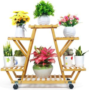 Bamboo Plant Stand with Wheels Multi-Layer Rolling Plant Flower Pots Holder Display Shelf Indoor&Outdoor Unit for Sale in Wilkes-Barre, PA