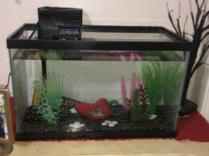 10 Gallon fish tank with Aquarium Hood Light also with Quiet Flow Filter and with Plastic Plants. for Sale in Bakersfield, CA