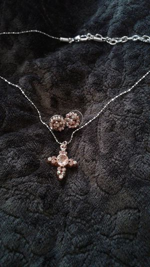 Morganite and Swarovski Cross and Morganite and Swarovski crystals. Cain is adjustable, can be longer. for Sale in Lexington, SC