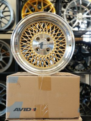 4 BRAND NEW AVID1WHEELS AV18 15×8. 4×100. +25 OFFSET. GOLD WITH CHROME LIP. DEEP DISH. FINANCING AVAILABLE. No CREDIT NEEDED. for Sale in Sacramento, CA