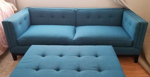 Gorgeous Tufted Blue Couch w/ Matching Ottoman for Sale in Los Angeles, CA