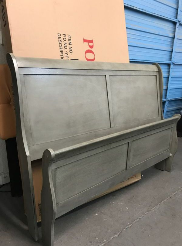 Brand New Queen Size Grey Wood Sleigh Bed Frame