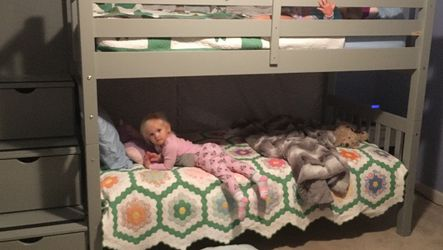 Bunk beds Twin Over Twin Stairway Grey for Sale in Sykesville,  MD