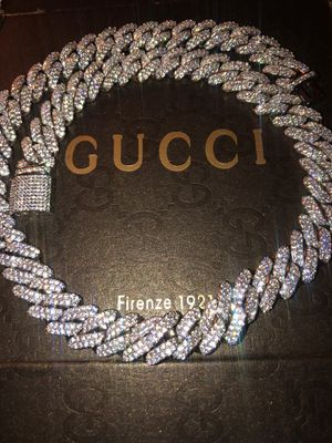 ICED OUT 16MM WHITE GOLD CUBAN LINK PRONG 20INCH CHAIN 💎I ACCEPT OFFERS 💎 for Sale in Miramar, FL