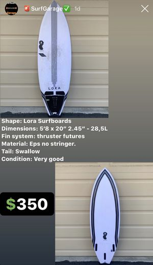 Surfboard 5'8 Lora Surfboard Design for Sale in San Diego, CA