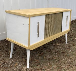 Vintage Retro Mid Century Modern MCM Refinished Record Player Cabinet Console Stand Entryway Sofa Table for Sale in Chapel Hill, NC