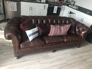 Leather Couch and the table for Sale in Tampa, FL