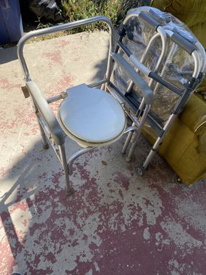 Portable Toilet Seat (Commode) and Two walkers for the elderly. for Sale in Fresno, CA
