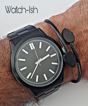 (NEW) Mens stylish black watch with silver accents for Sale in Revere, MA
