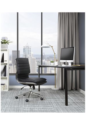 Office Star Faux Leather Armless Mid Back Managers Chair with Chrome Base, Black for Sale in Phoenix, AZ