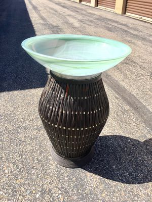 Bird Bath tall with green Swirls of glass bowl and wicker large brown stand! Simple...... for Sale in Pagosa Springs, CO