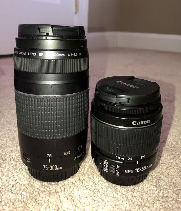 Canon EOS Rebel T6 kit (EF-S 18-55mm and EF 75-300mm Zoom Lenses) - Black