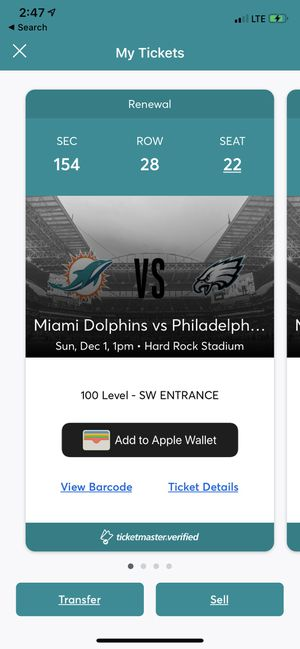 Eagles vs Dolphins. for Sale in Fort Lauderdale, FL