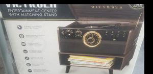 Victrola bluetooth record player stereo system with stand and record holder for Sale in Norfolk, VA