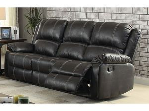 BLACK BONDED LEATHER DOUBLE WHITE STITCH SOFA RECLINER / SILLON RECLINABLE MUEBLES for Sale in Rancho Cucamonga, CA