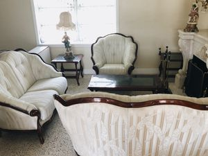 Vintage Living Room Set: 2 sofas, 1 sofa chair (armchair), 2 side tables for Sale in Miami, FL