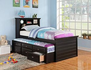 New Black Twin/Twin Trundle Bed with Storage for Sale in Austin, TX