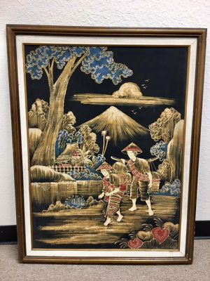 """Large Antique Asian Watercolor Painting on Silk 39""""H x 30"""" for Sale in Santa Ana, CA"""
