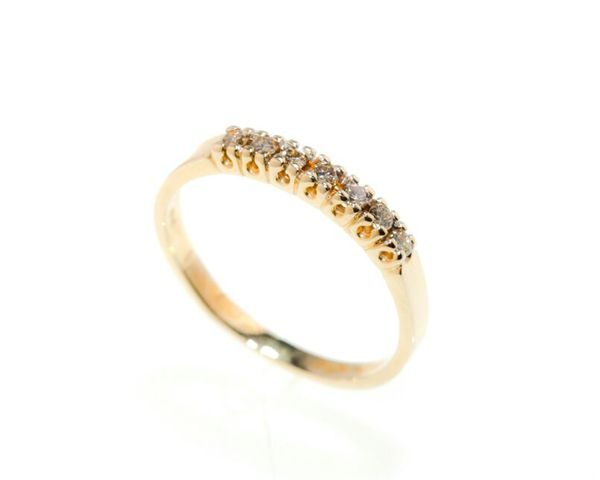 14kt Yellow Gold Ring with 7 Natural Round Diamonds