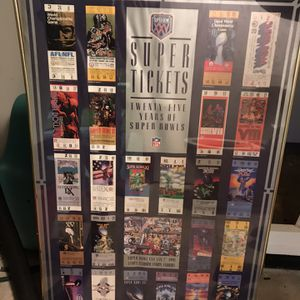 Super Bowl Ticket Poster for Sale in Deer Park, IL