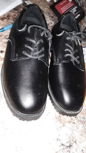 Shoes for crews new black size 7.5 leather boots steal toe skid proof for Sale in Springfield, OH