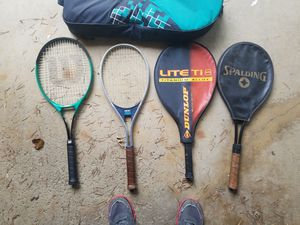 4 tennis rackets with case and balls for Sale in Parma Heights, OH