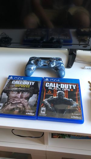 PS4 BLUE CAMO CONTROLLER with games for Sale in Brooklyn, NY