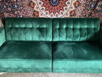 Green velvet couch/futon for Sale in Tacoma,  WA
