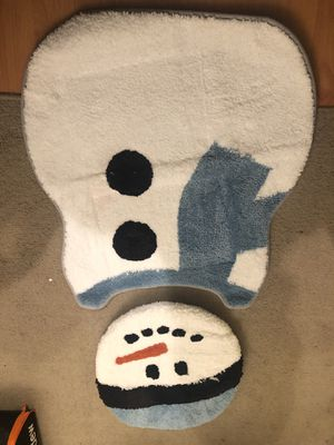 Snowman toilet lid cover and floor mat. for Sale in Yorktown Heights, NY