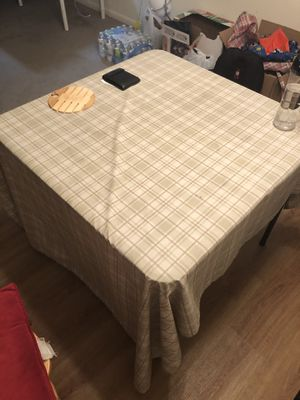 Table with waterproof table cloth for Sale in Williamsport, PA