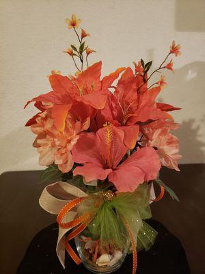 Artificial flower arrangement orange for Sale in Hesperia, CA