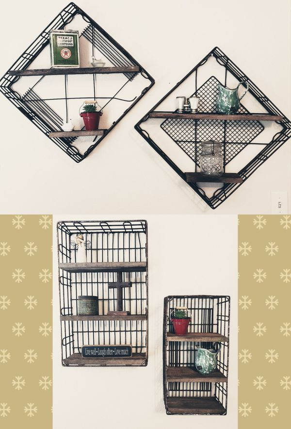 Custom Made Rusty Wire Basket & Barn Wood Shelves