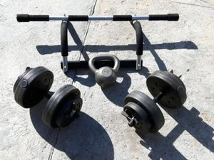 Exercise weights and pull bar/excercise bar for Sale in South Gate, CA