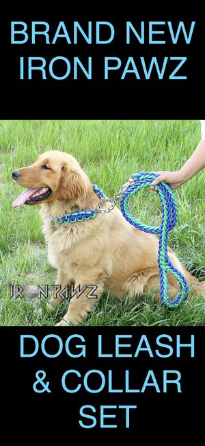 Iron Pawz Heavy Duty Professional Training Dog Leash and Collar Set Green and Blue for Sale in Avondale, AZ