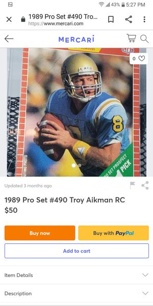 89 pro set Troy Aikman Rookie for Sale in Farmington, IL