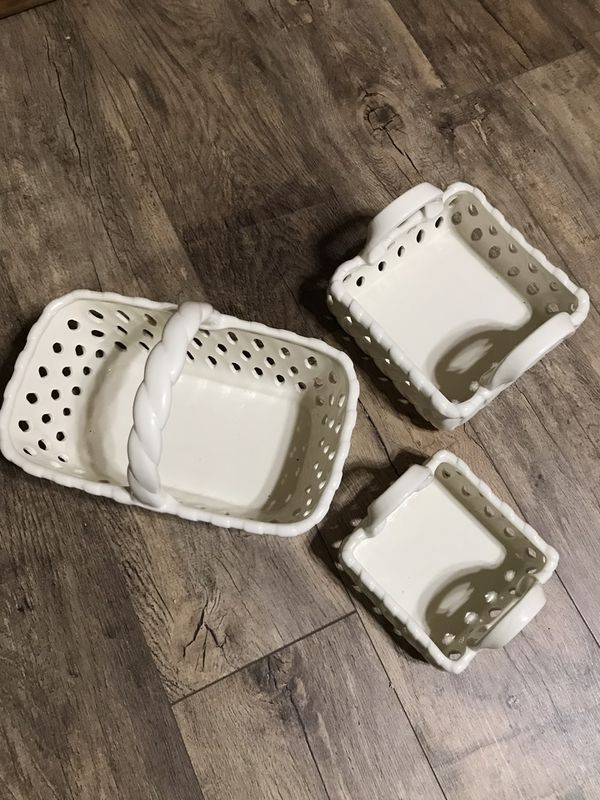 Ceramic Baskets Succulent Pot Serving Tray Dining Table Summer BBQ