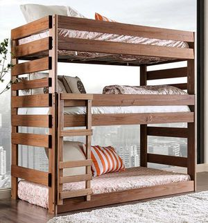 Multi triple bunk bed wth 3 mattresses solid wood frame for Sale in Fresno, CA