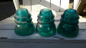 3 HEMINGRAY - 42 Blue Green Glass Antique Insulators for Sale in Sanger, CA