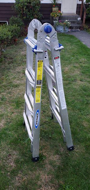 Werner folding multi extension ladder for Sale in Mountlake Terrace, WA