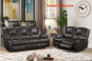 NEW, GRAY 2PC Manual Recliner Air Leather Living Room SET, SKU# 8086-2PC for Sale in Huntington Beach, CA