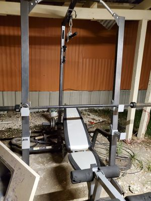 Mercy workout cage ,bar ,curl, weights, and bench for Sale in Channelview, TX