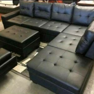 Black Leather Sectional with Storage Ottoman for Sale in Atlanta, GA