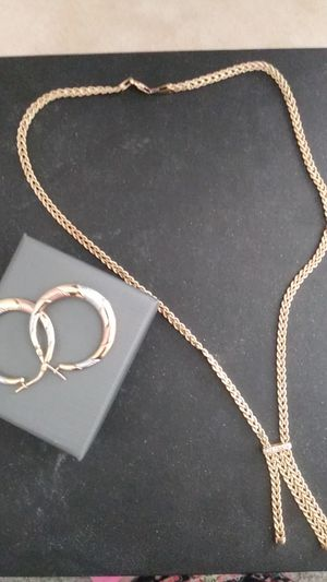 Gold necklace and earrings for Sale in Modesto, CA