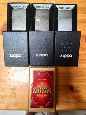 3 New Zippo Lighters with Boxes and ZigZag Tin for Sale in Costa Mesa, CA