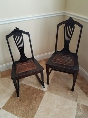 Antique His and Her Chair and Rocking Chair. 19th Century Collectible for Sale in Belle Isle, FL