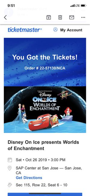 Disney On Ice Tickets for Sale in San Carlos, CA
