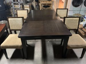 Espresso Dining Table With Leaf and Matching Chairs for Sale in Salida, CA